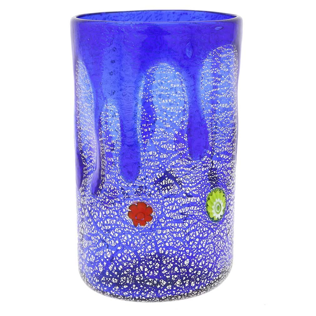 Murano Tall Drinking Glass - Silver Lava Blue