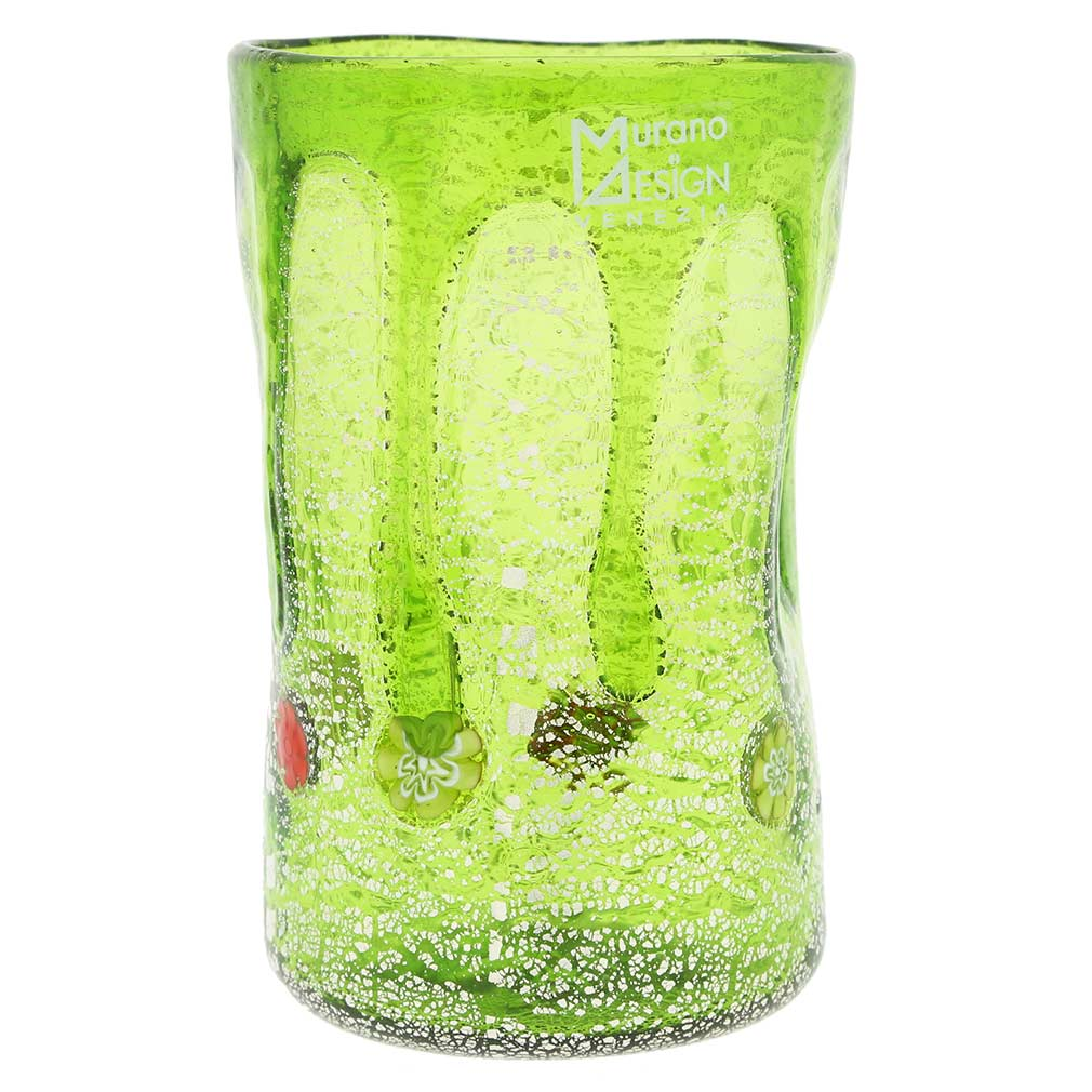 Murano Tall Drinking Glass - Silver Lava Green