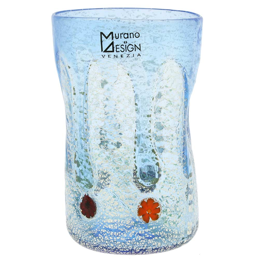 Murano Tall Drinking Glass - Silver Lava Light Blue