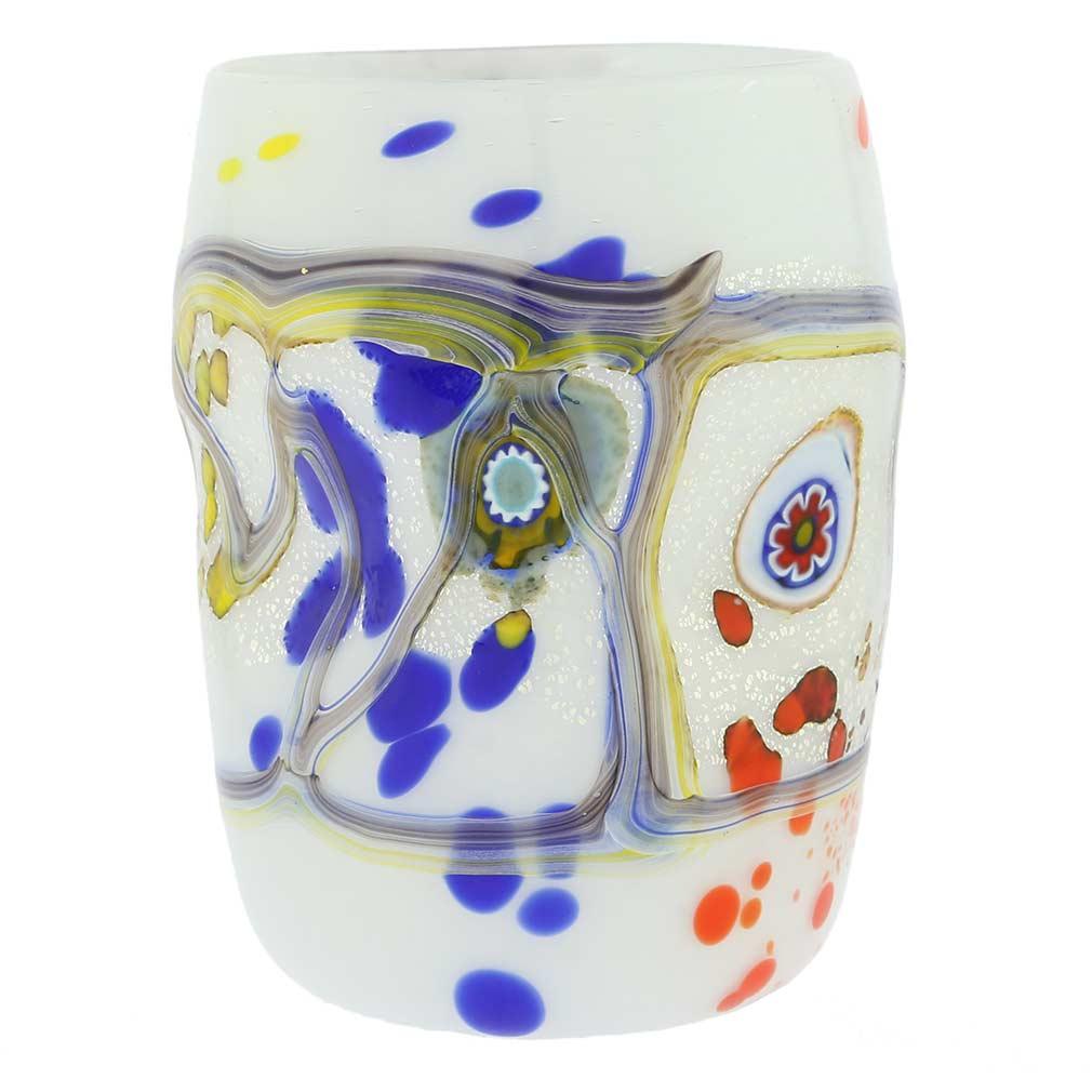 Modern Art Murano Glass Tumbler - White