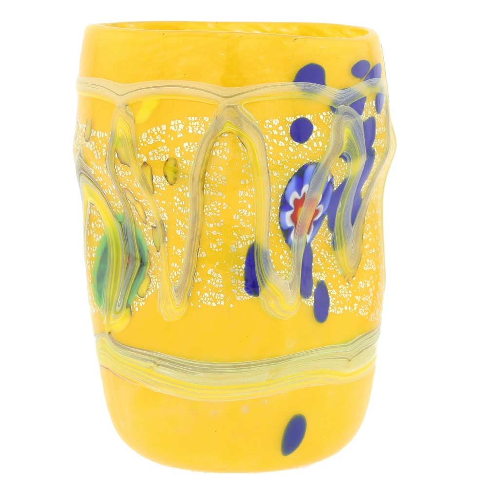 Modern Art Murano Glass Tumbler - Yellow