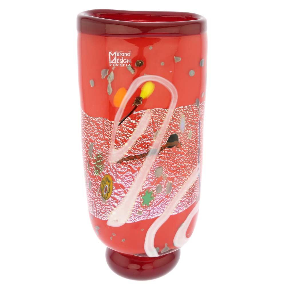 Modern Art Murano Glass Vase - Red