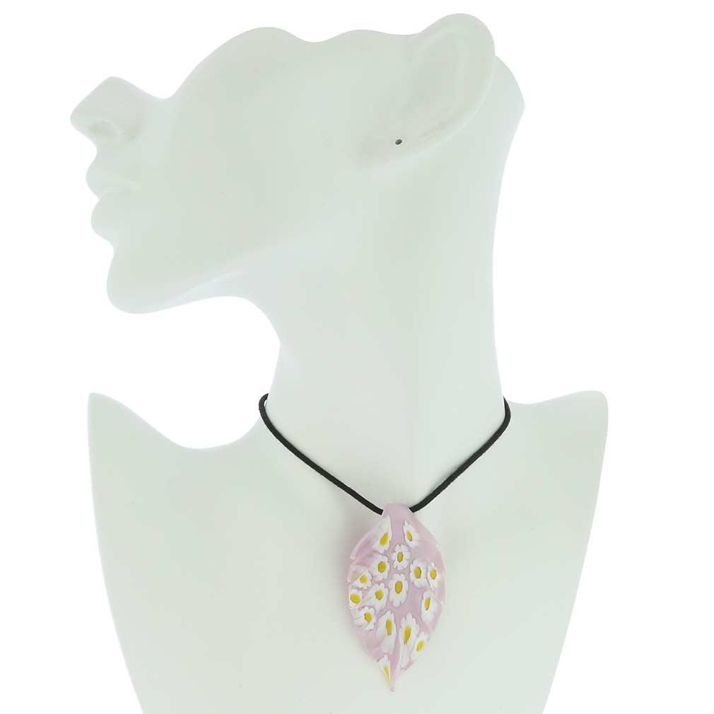 Lilac Daisy Leaf pendant