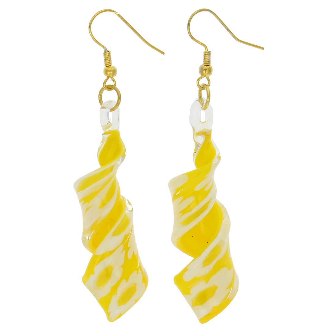 Yellow Daisy spiral earrings