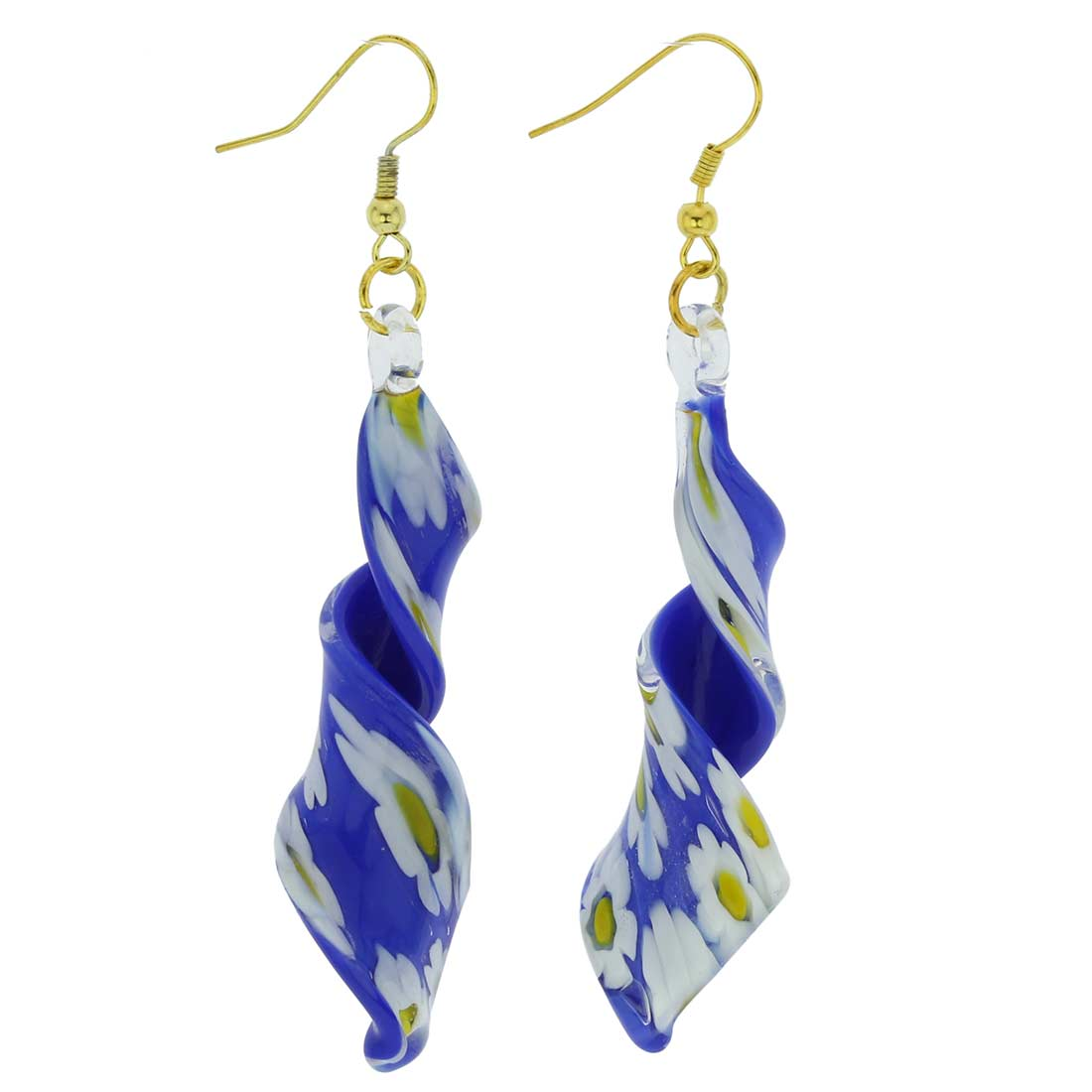 Blue Daisy spiral earrings