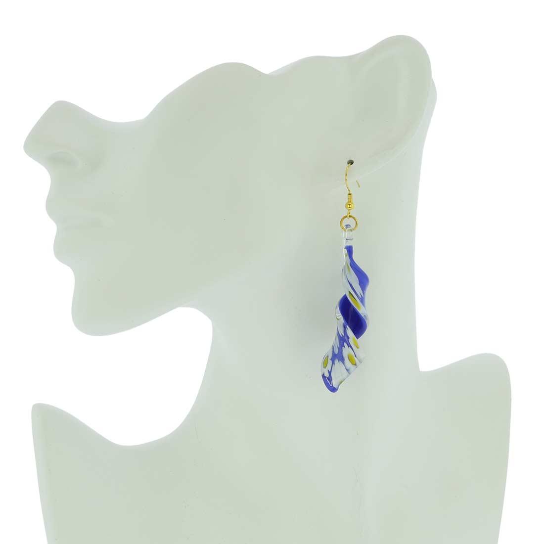 Blue Daisy spiral earrings