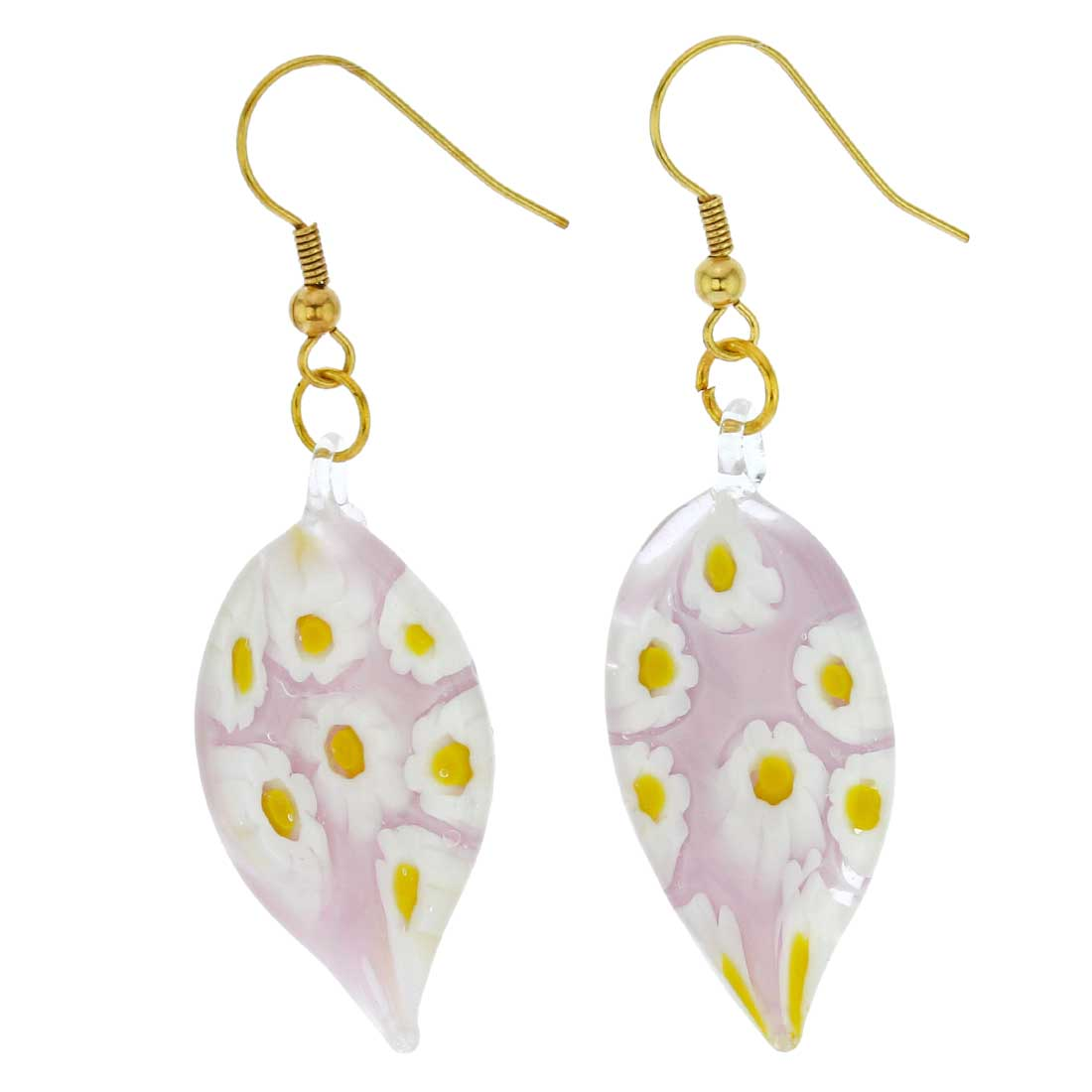 Lilac Daisy Leaf-shaped earrings
