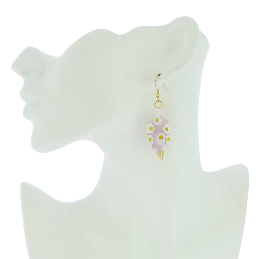 Lilac Daisy Leaf-shaped earrings