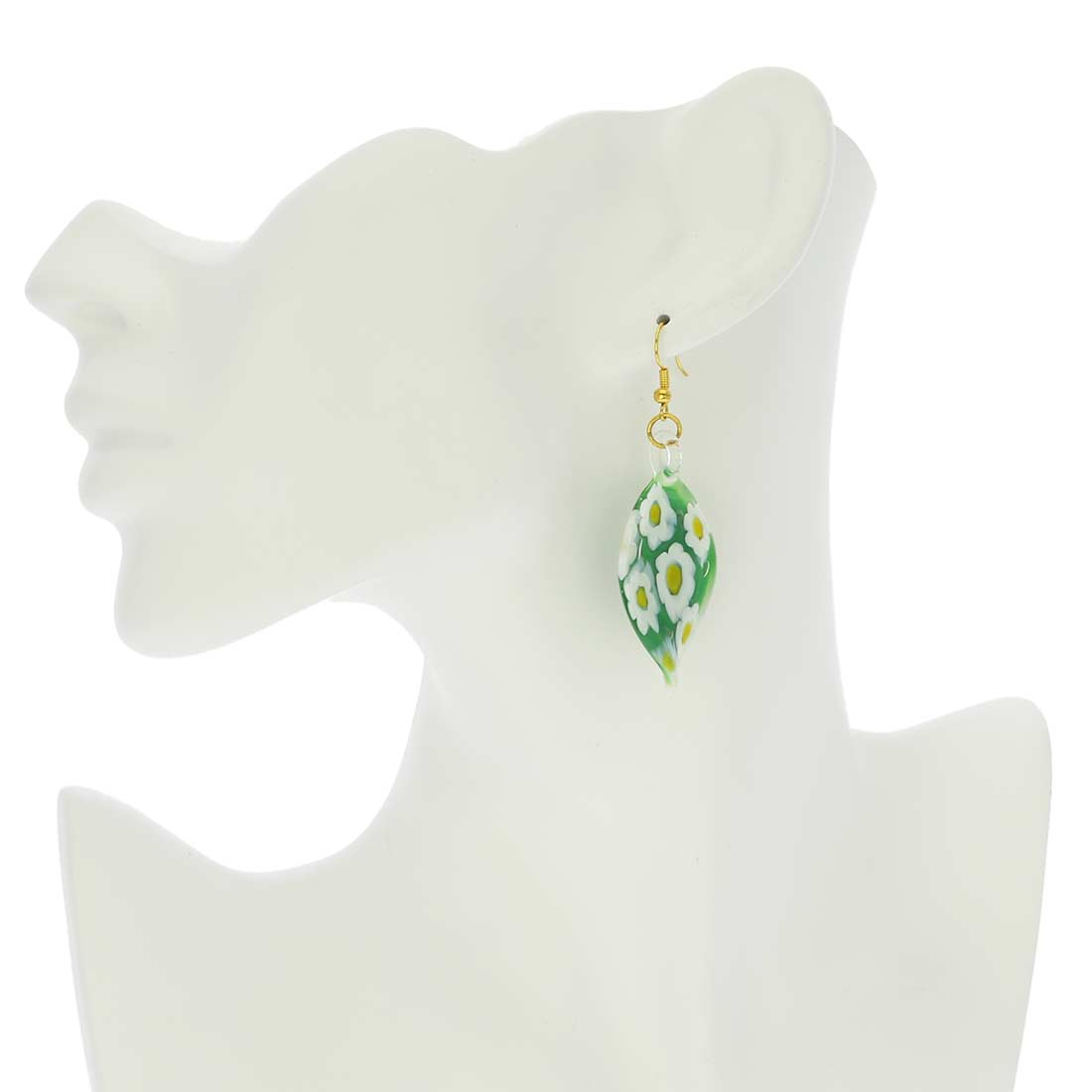Green Daisy Leaf Earrings