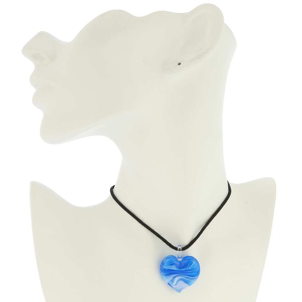 Venetian Marble Heart Pendant - aquamarine
