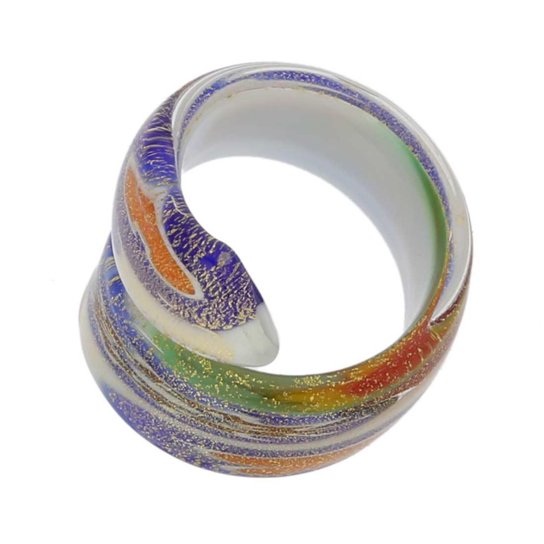 Millefiori Lattimo Golden spiral ring