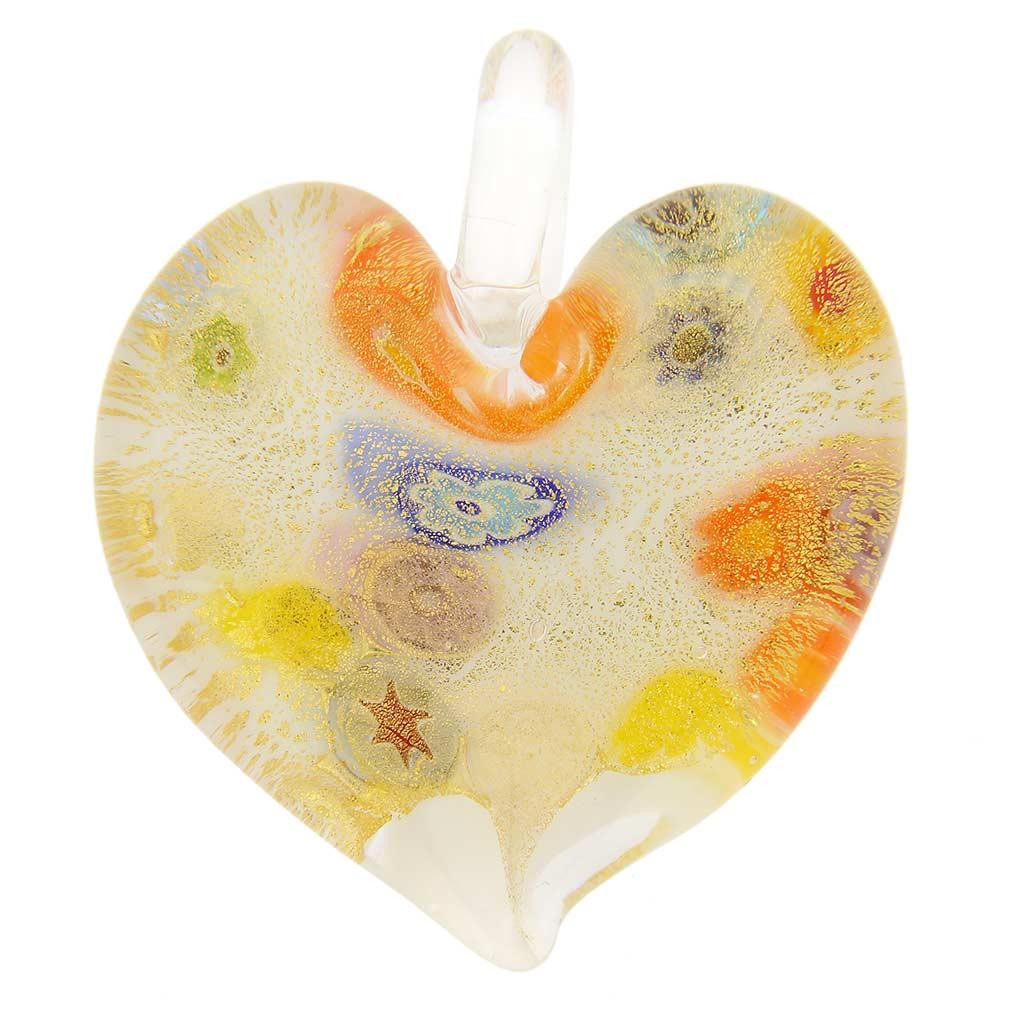 Murano Millefiori Lattimo Heart Pendant