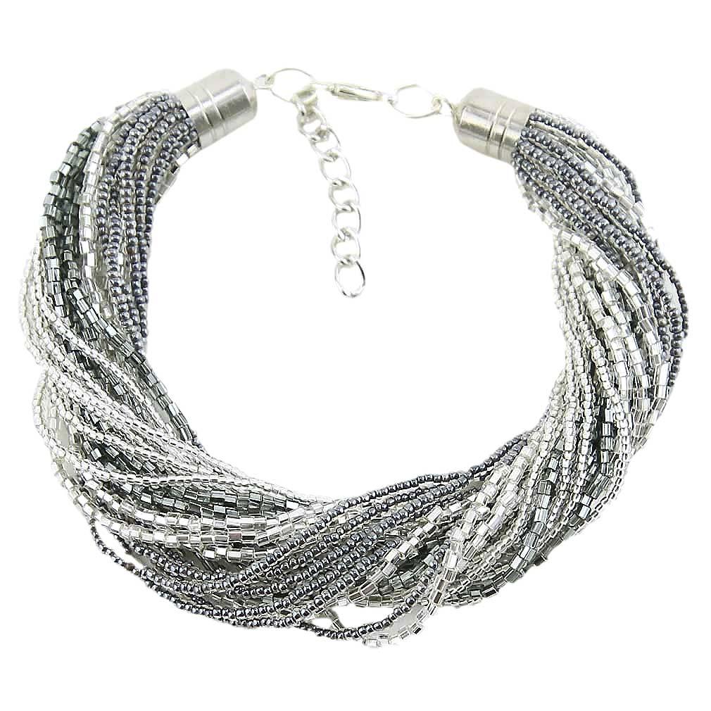 Gloriosa 24 Strand Seed Bead Murano Bracelet - Silver Grey