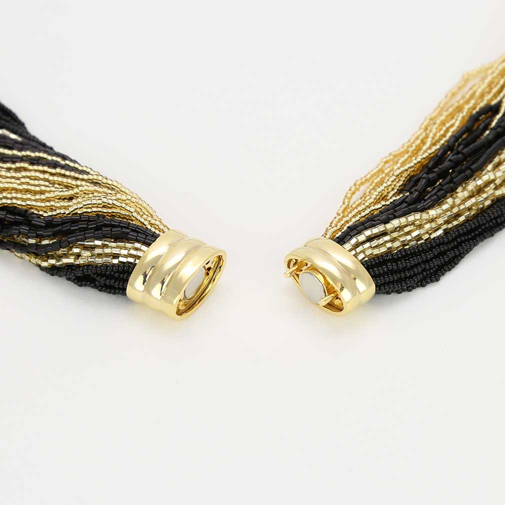 Dogaressa 48 Strand Necklace and Bracelet- Gold and Black