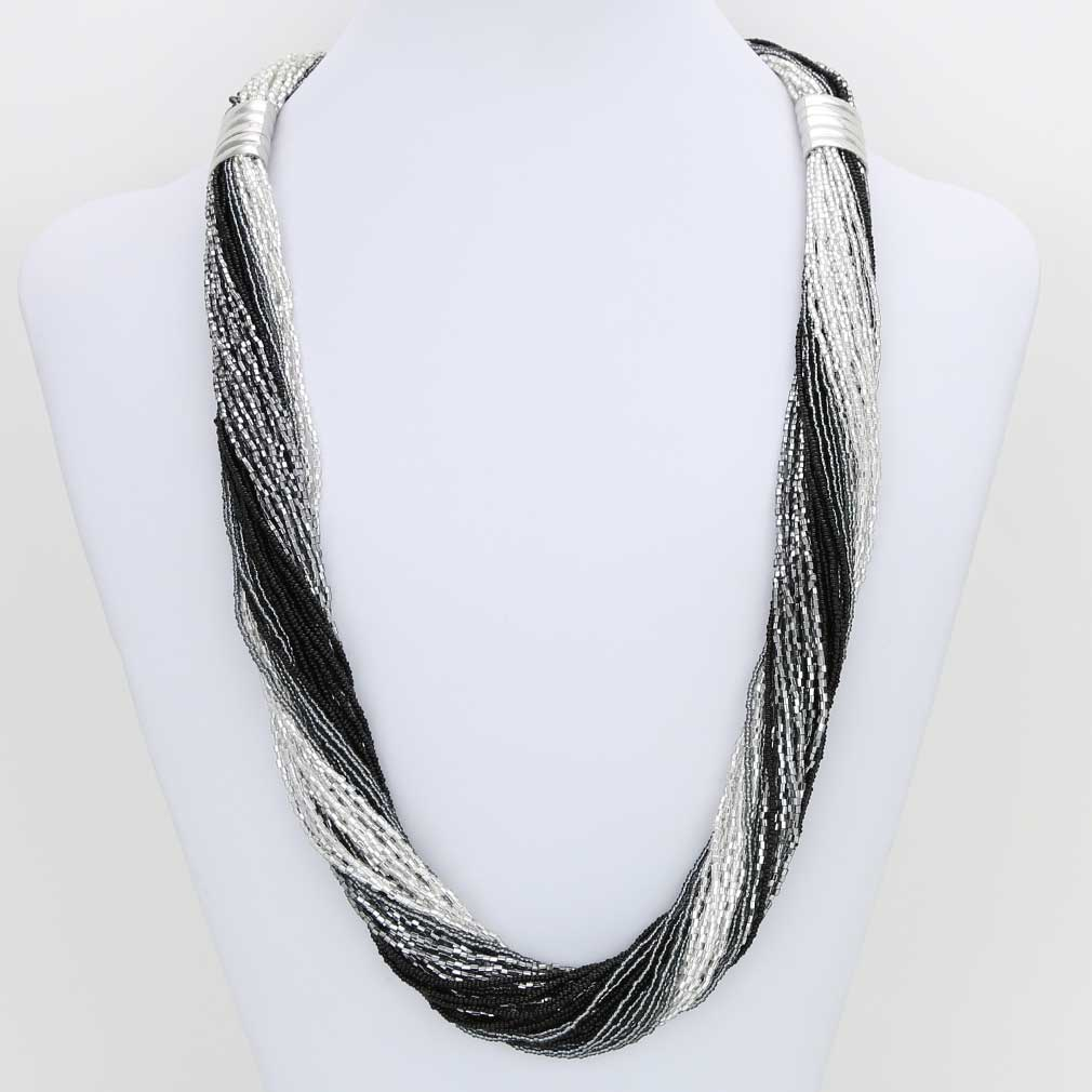 Dogaressa 48 Strand Necklace and Bracelet- Silver Grey and Black