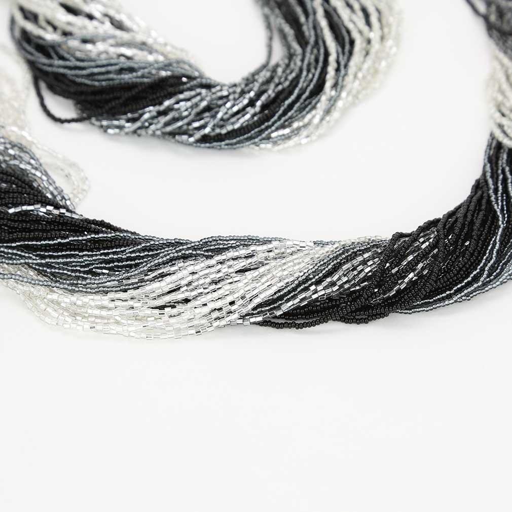 Dogaressa 48 Strand Necklace and Bracelet- Silver Grey and Black