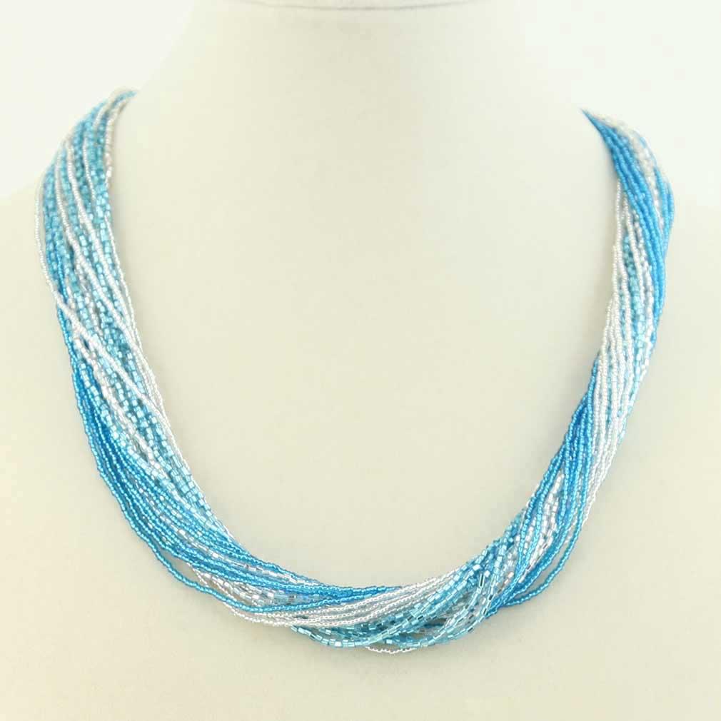 Gloriosa 24 Strand Seed Bead Murano Necklace - Silver Aqua
