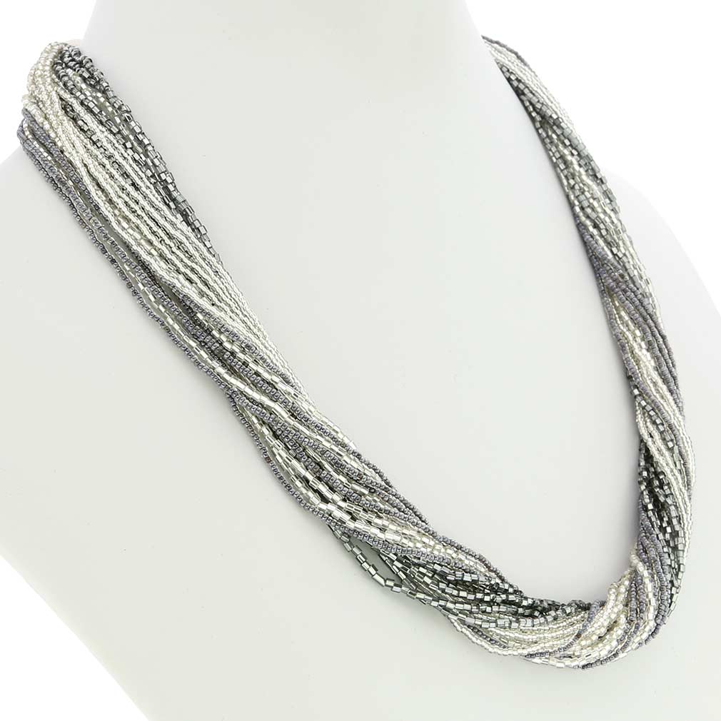 Gloriosa 24 Strand Seed Bead Murano Necklace - Silver Grey