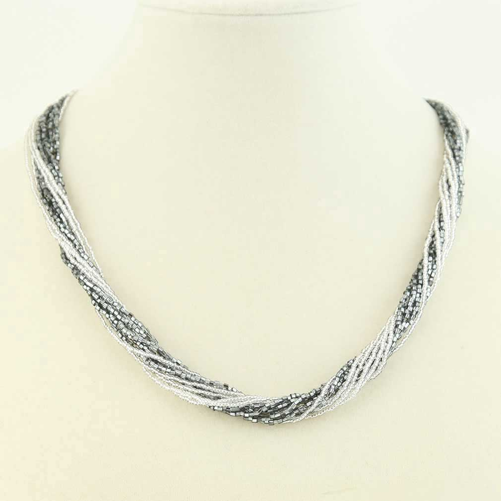 Gloriosa 12 Strand Seed Bead Murano Necklace - Silver Grey