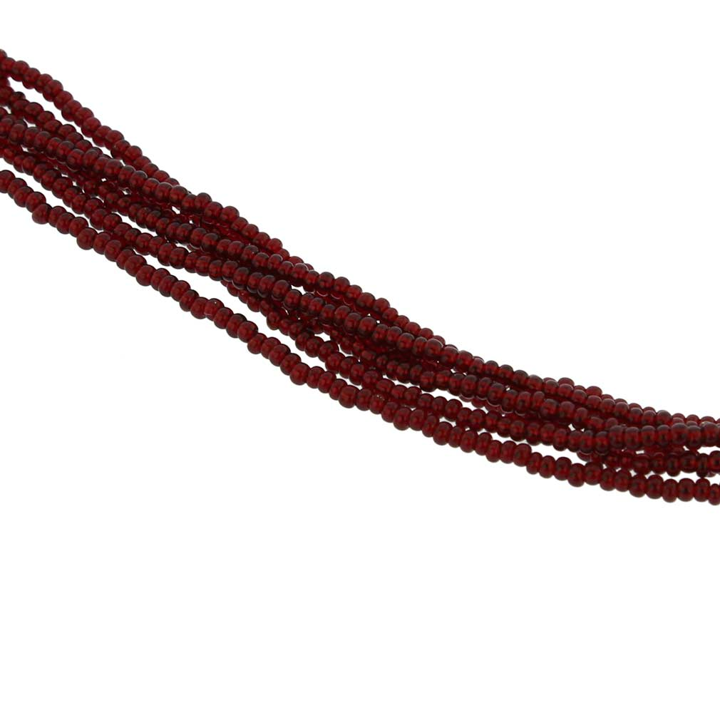 Six Strand Seed Bead Necklace - Ruby Red