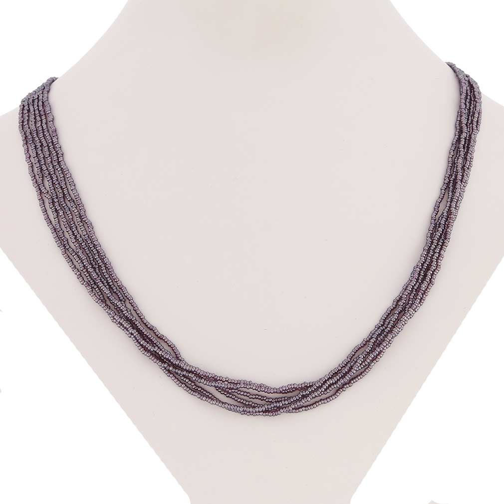Six Strand Seed Bead Necklace - Light Amethyst