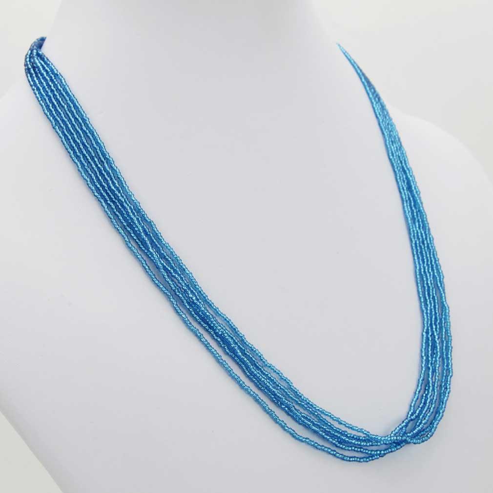 Six Strand Seed Bead Necklace - Aqua Blue