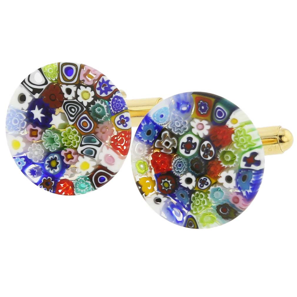 Color Splash Murano Millefiori Cufflinks - 3/4 inch