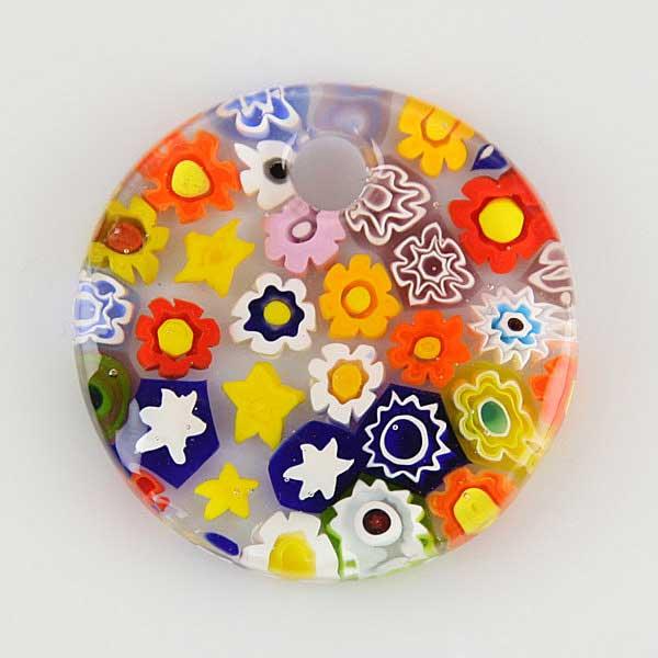 Mosaic Glitter large round millefiori pendant