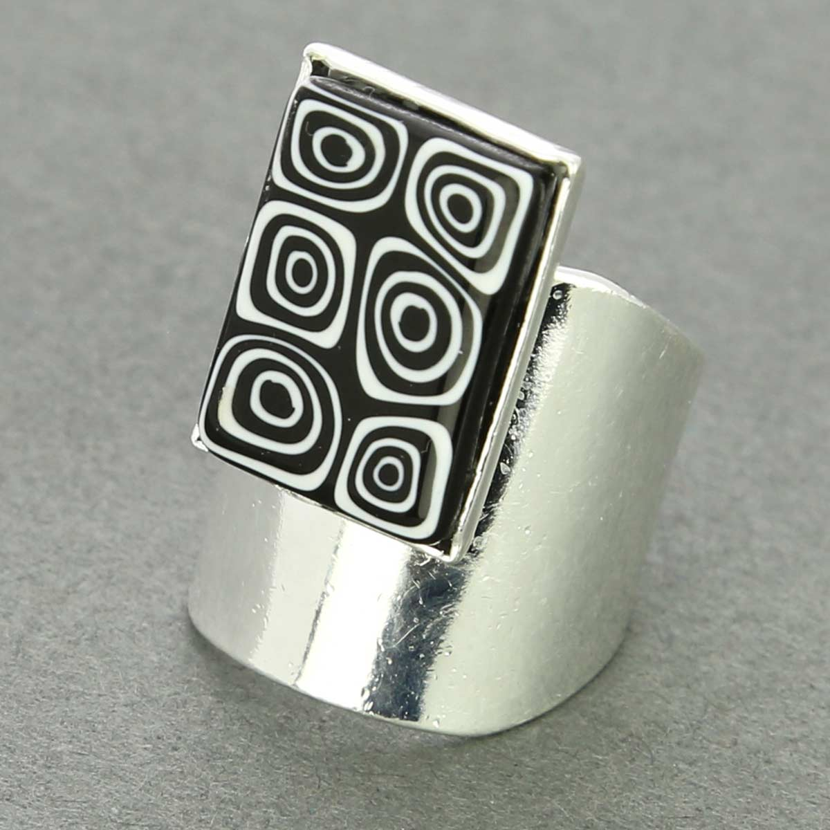 Murano Mosaic Rectangular Ring - Black And White