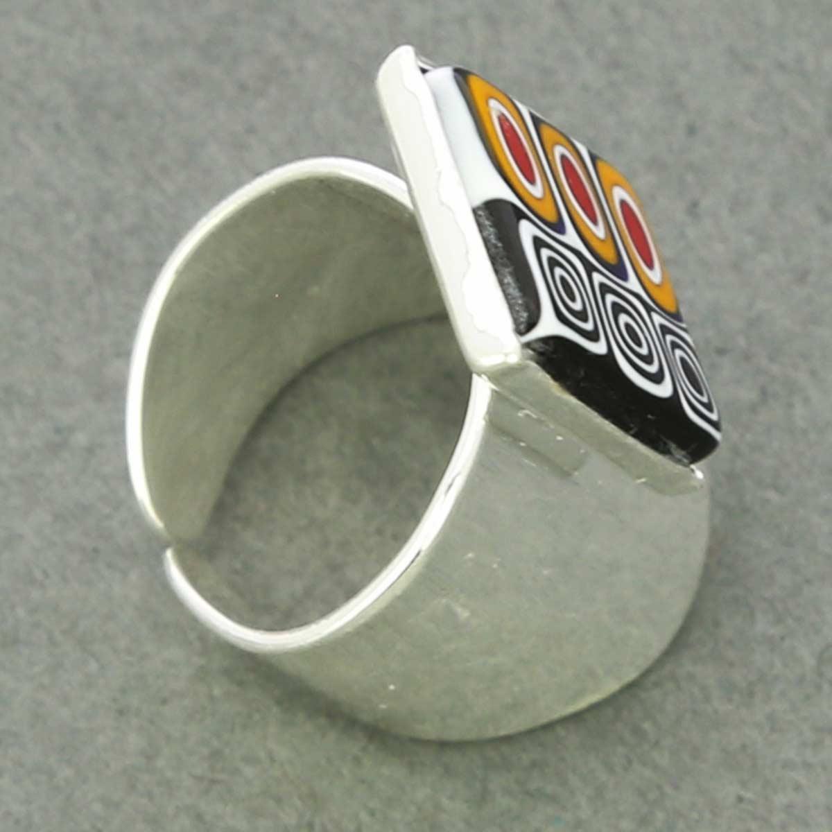 Murano Mosaic Rectangular Ring - Black White and Yellow