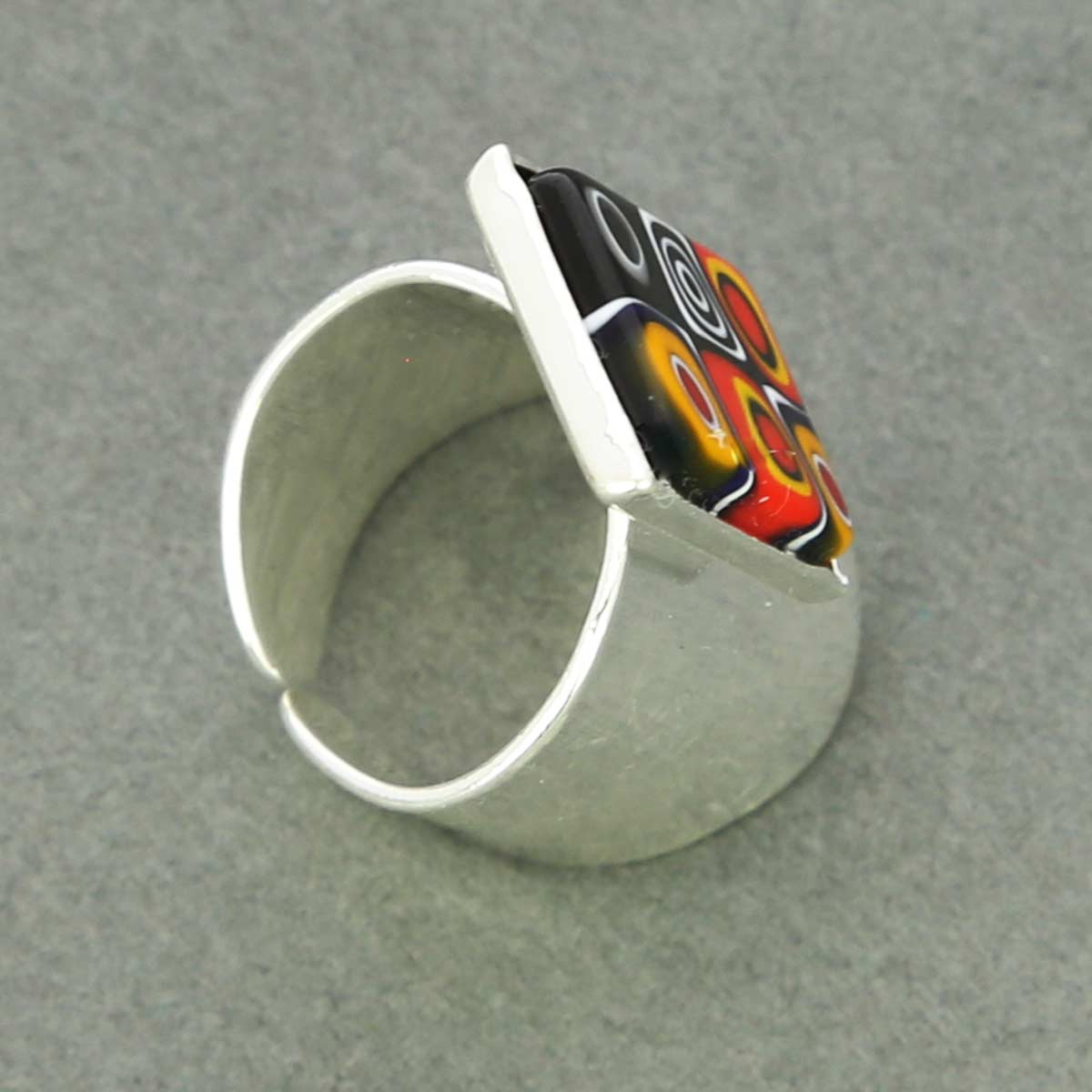 Murano Mosaic Rectangular Ring - Multicolor