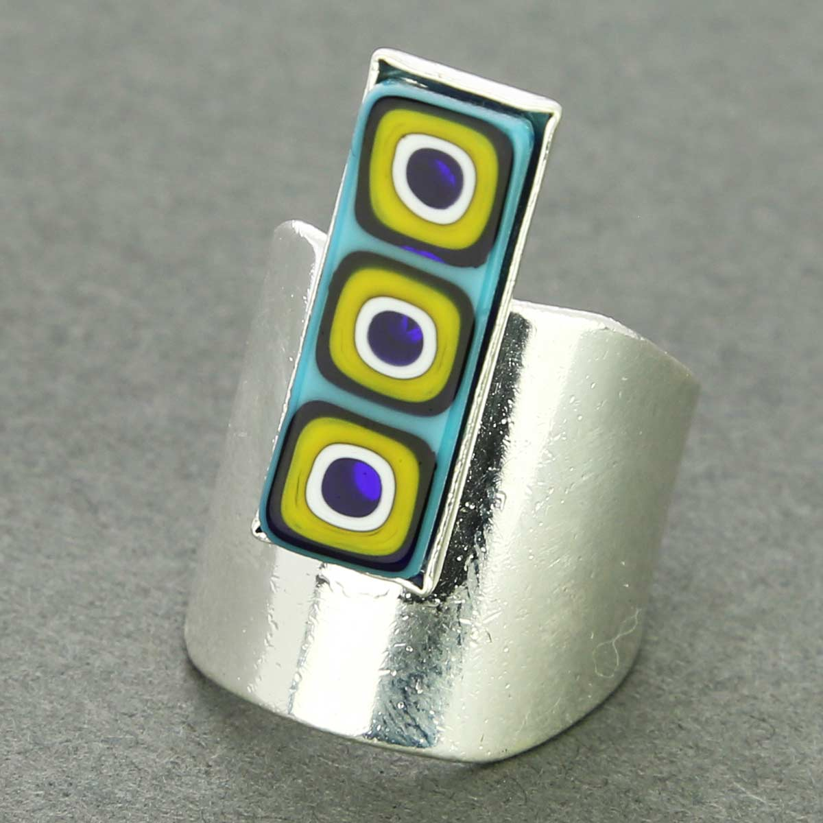 Murano Mosaic Stick Contemporary Ring - Blue and Yellow
