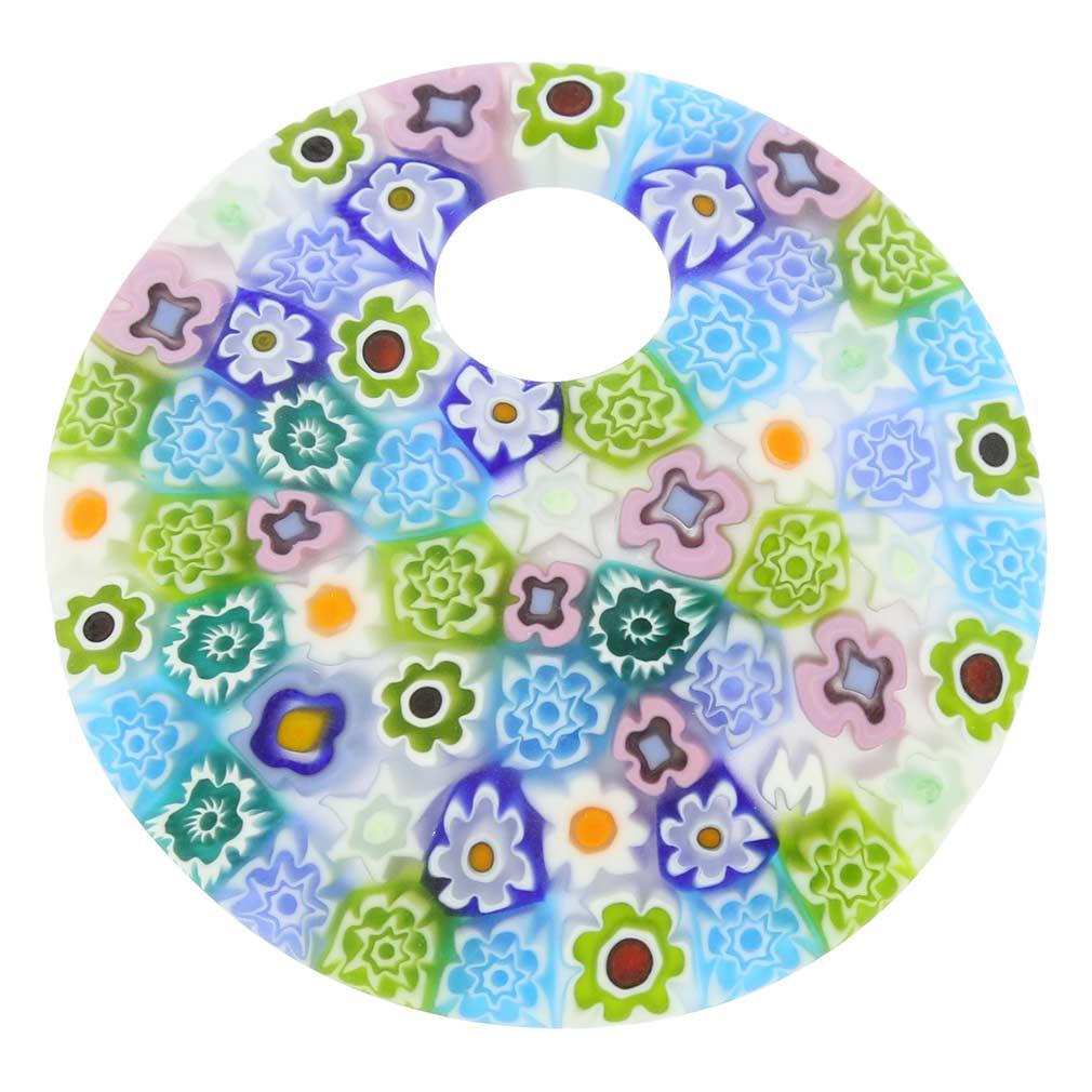 Murano Millefiori Pastels pendant- large round