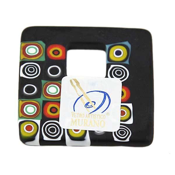 Modern Millefiori Square Pendant - Black