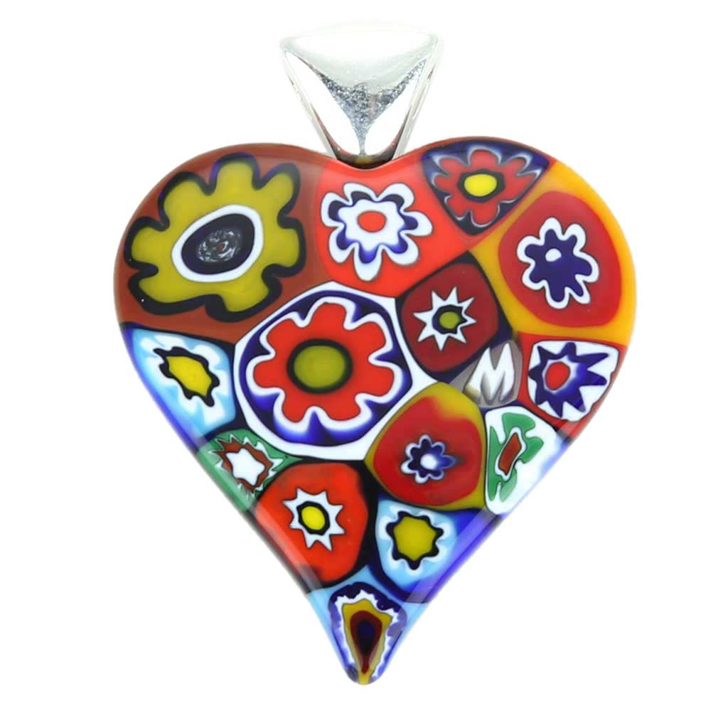 Color Splash Millefiori Heart Pendant