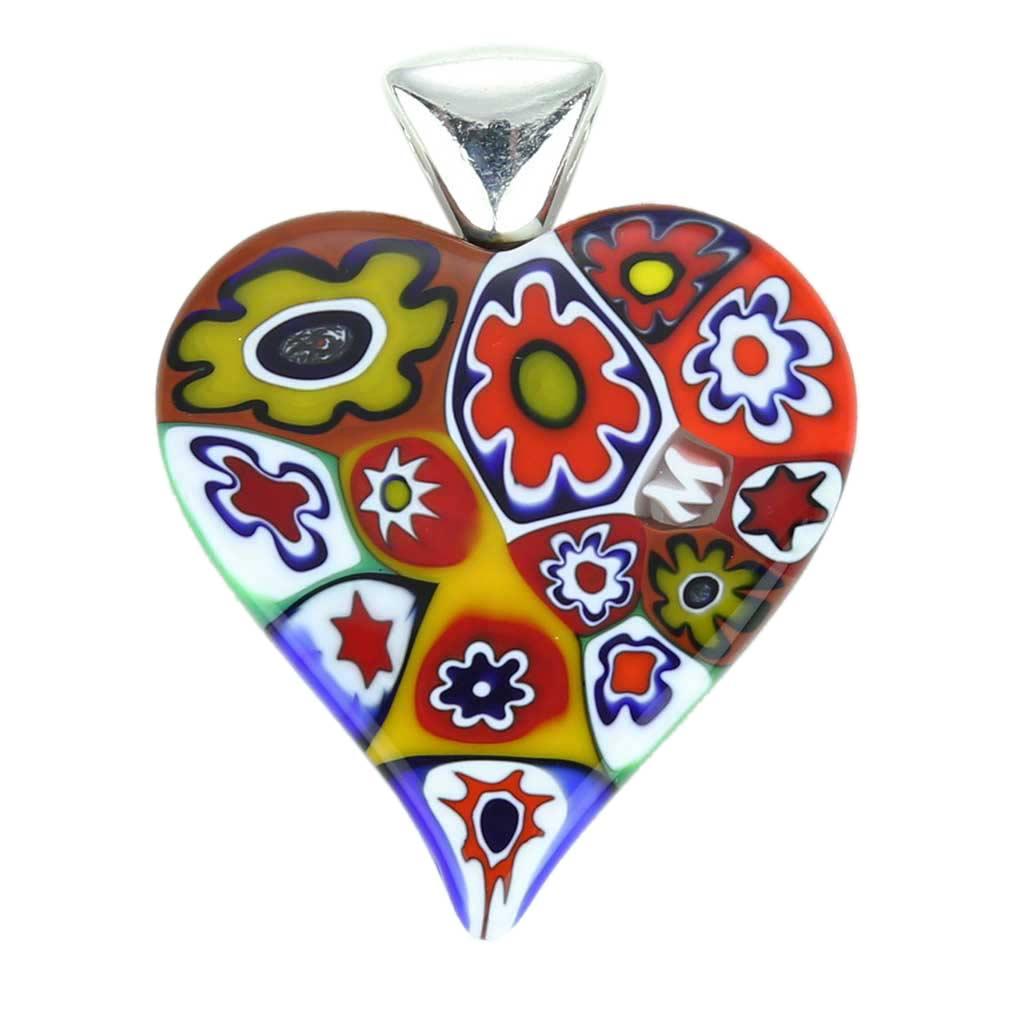Color Splash Millefiori Heart Pendant