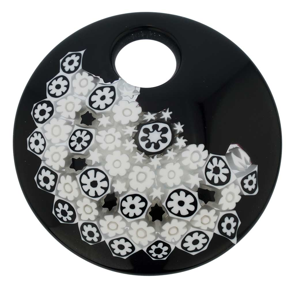 Black and White Millefiori Murano Glass Pendant - Round