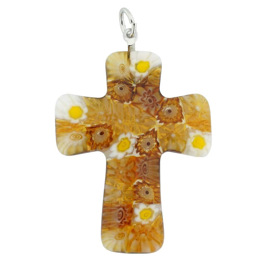 Amber Murano Millefiori Cross Pendant
