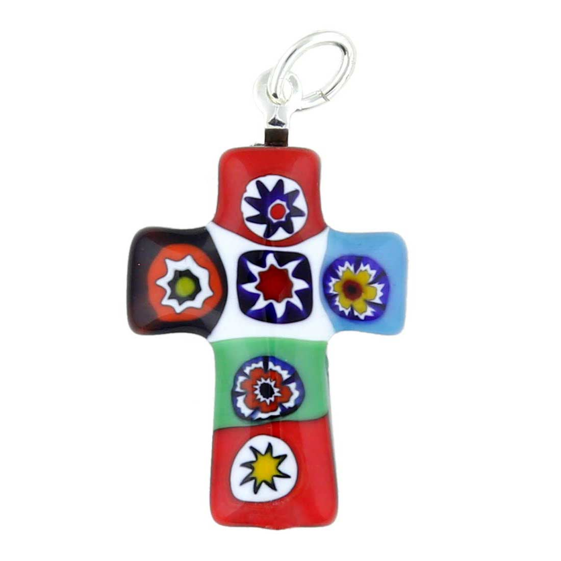 Color Splash Millefiori Small Cross Pendant