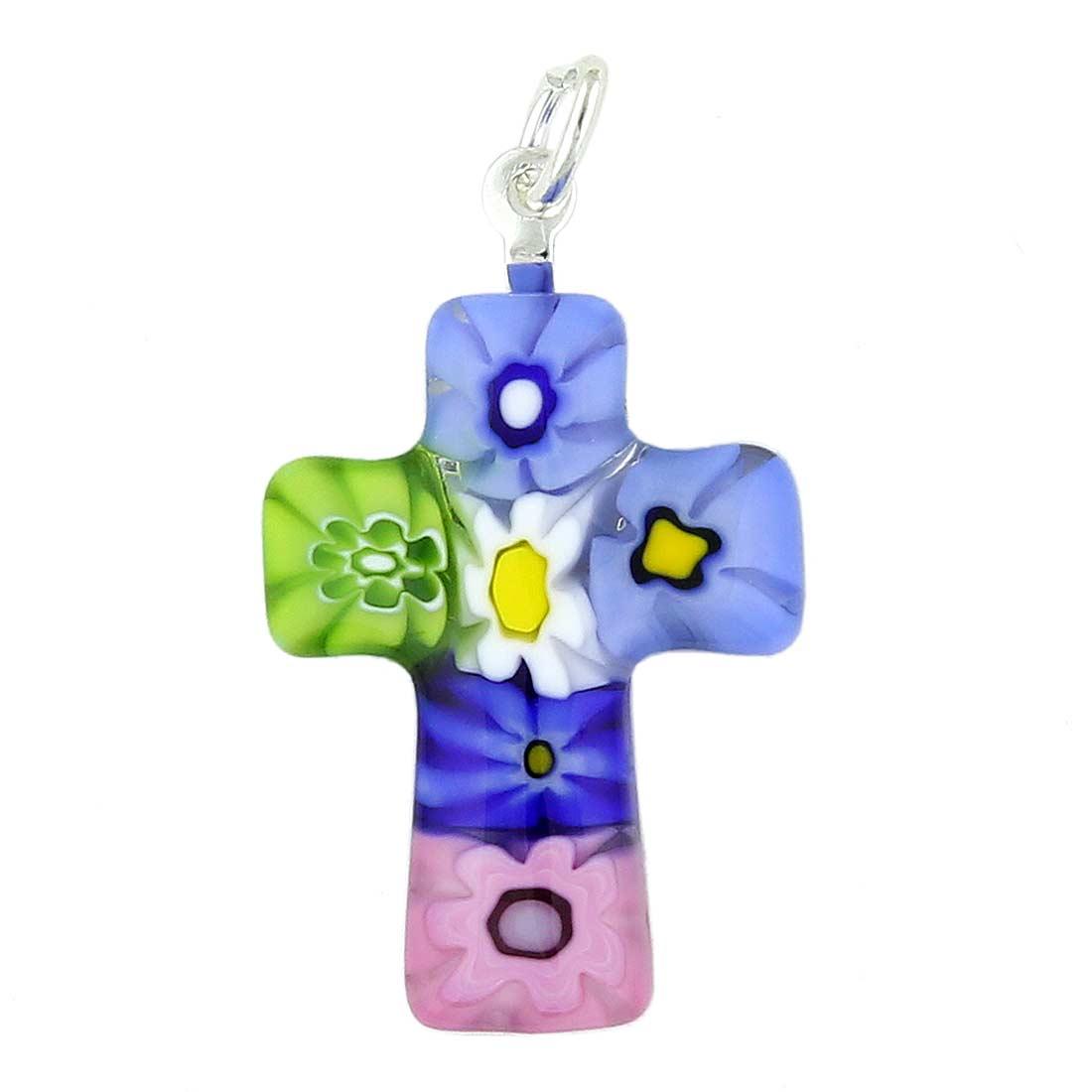 Multicolor Millefiori Small Cross Pendant