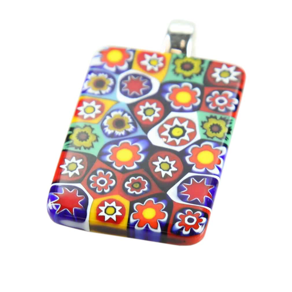 Millefiori Pendant Rectangular - Multicolor