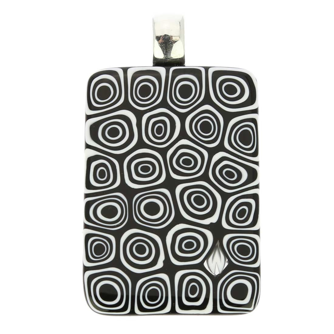 Millefiori Pendant Rectangular - Black and White