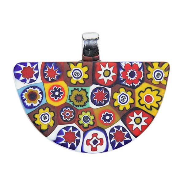 Color Splash Millefiori Semicircle Pendant