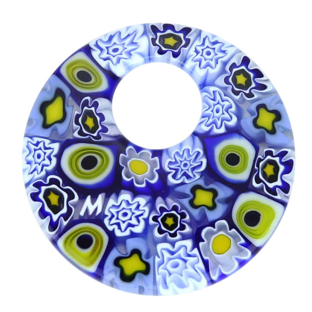 Millefiori Medium Round Pendant - Blue and White