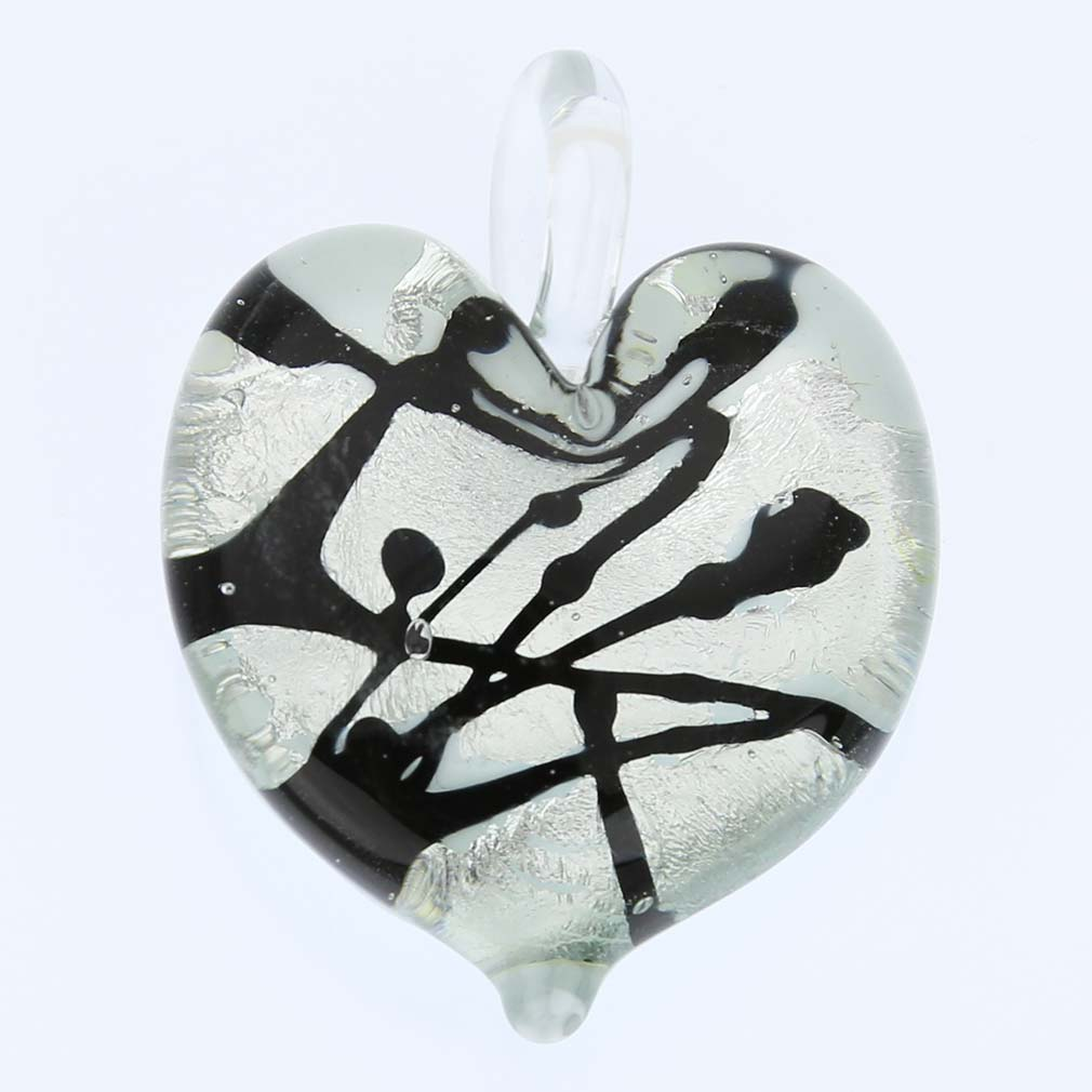 Tender Heart pendant - Silver and Black