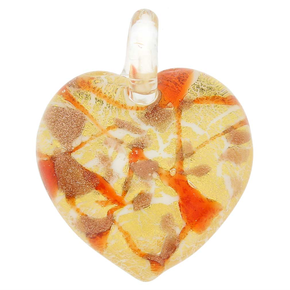 Heart in Swirls pendant - fire red