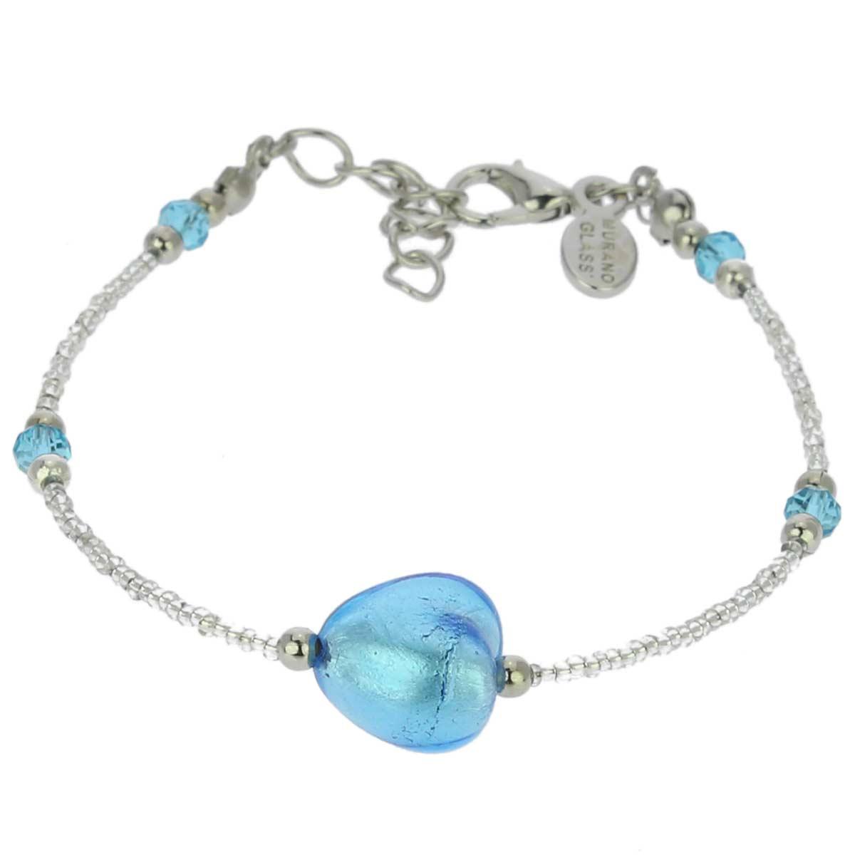 Murano Heart Bracelet - Sky Blue