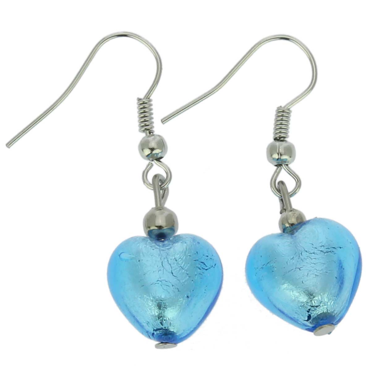 Murano Heart Earrings - Sky Blue