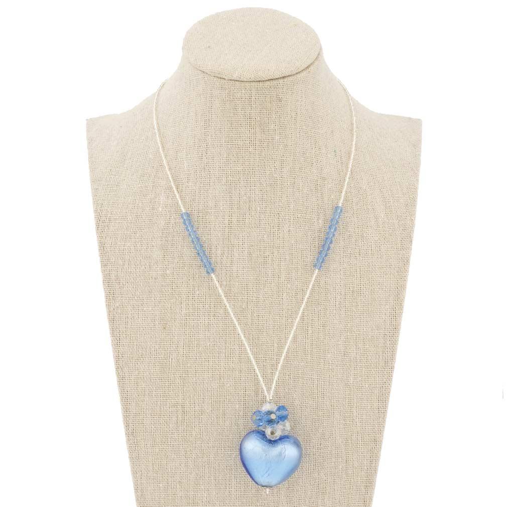 Venetian Love Heart Necklace - Aqua Blue