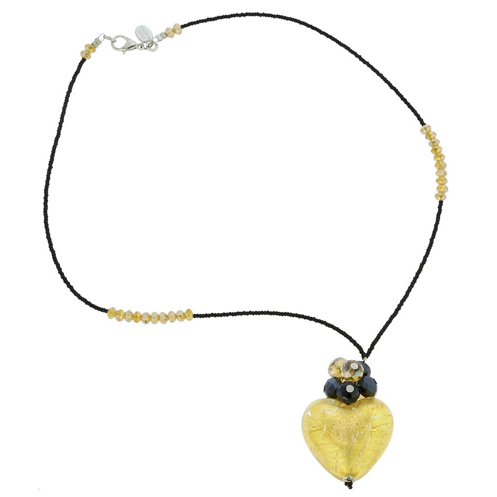 Venetian Love heart necklace - gold and black
